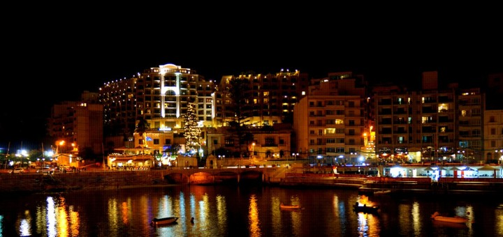 Saint Julians Night Lights, Malta.